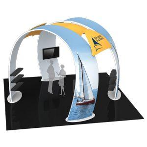 Stand d'exposition avec double arche
