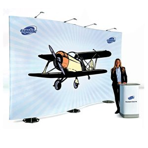 Stand Fabric Wall L440xH250cm + container/comptoir